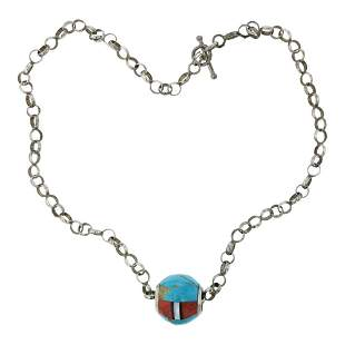 Vintage Pawn Turquoise Coral & Shell Inlay Barrel