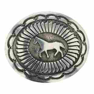 Navajo Overlay Horse Belt Buckle
