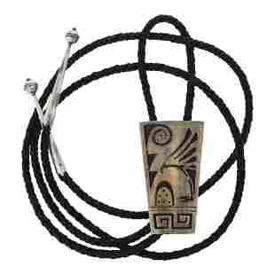 Old Pawn Vintage Hopi Overlay Bolo Tie Added Tips