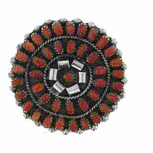LW Zuni Coral Needlepoint Cluster Pin & Pendant