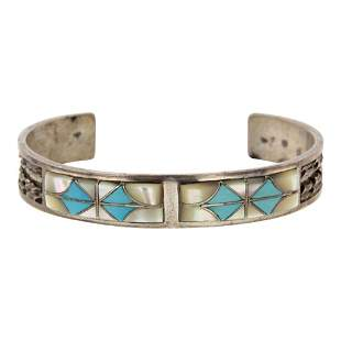 Florentine Panteah Inlay Turquoise & Mother of Pearl