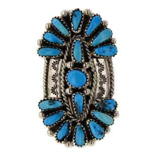 Vintage Pawn Kingman Turquoise Cluster Ring