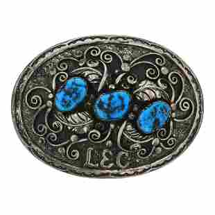 Old Pawn Sleeping Beauty Nugget Turquoise Belt Buckle
