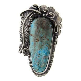 Larry Spencer Nevada Turquoise Leaf work Ring