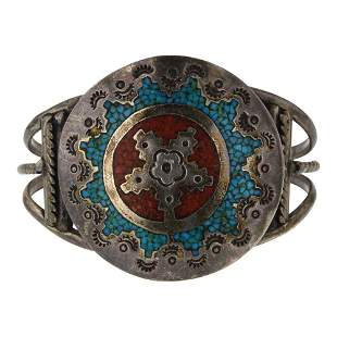 Old Pawn Vintage Turquoise & Coral Chip Inlay Bracelet
