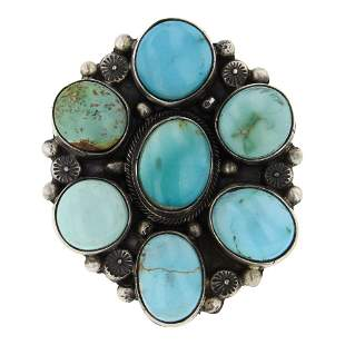Nevada Turquoise Cluster Ring