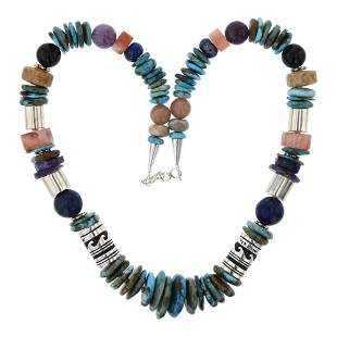 T&R Singer Turquoise & Mixed Stones Necklace