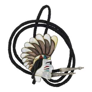 Old Pawn Vintage Warrior Chief Shell Inlay Bolo Tie