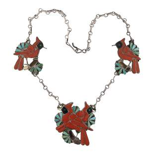 Old Pawn Vintage Turquoise & Coral Zuni Inlay Cardinal