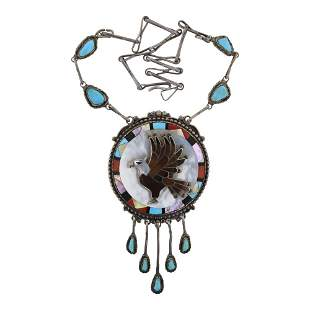 Don Dewa Vintage Turquoise Coral & Shell Inlay Eagle