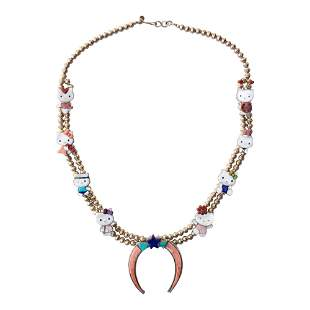 Dylan Poblano Zuni Inlay Pink Coral Turquoise & Shell