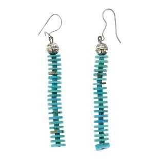 Bench Beads & Turquoise Heishi Dangle Earrings