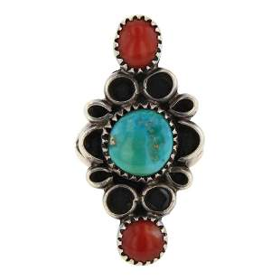 Raymond Coriz Vintage Turquoise & Coral Ring