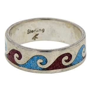 Turquoise & Coral Chip Inlay Band