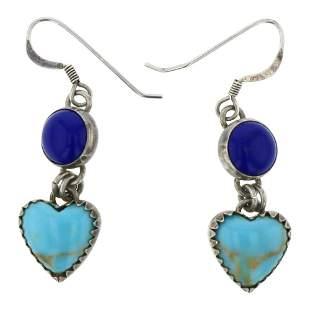 Turquoise & Lapis Hearts Navajo Earrings