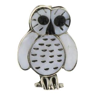 Zuni Inlay Mother of Pearl Owl Pendant