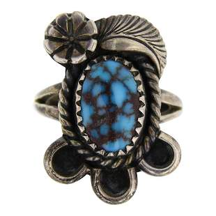 Old Pawn Spiderweb Bisbee Turquoise Ring
