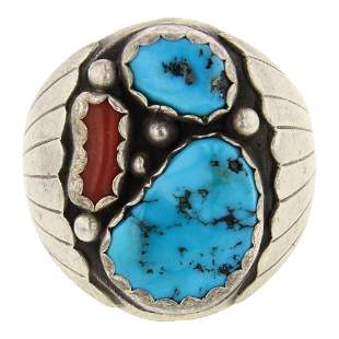 Sleeping Beauty Turquoise & Coral Men's Ring