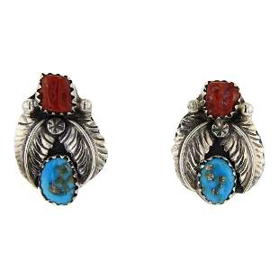 BS Turquoise & Coral Earrings