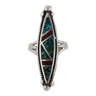 Vintage Turquoise & Coral Chip Inlay Long Diamond
