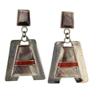 J&W Boone Zuni Abalone & Coral Inlay Earrings