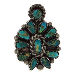Old Pawn Vintage Fox Turquoise Cluster Tie Tack Pin