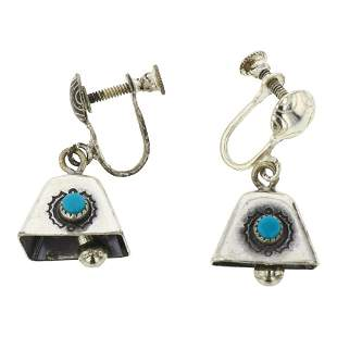 Turquoise Bell Screw Clip Earrings