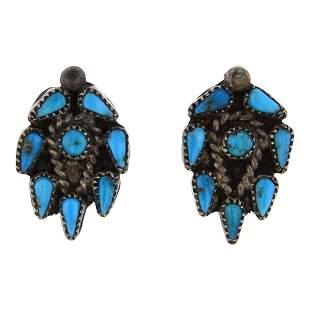 Old Pawn Vintage Kingman Turquoise Earrings