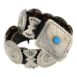 Turquoise Nickle Silver Concho Belt