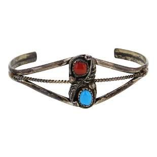 Vintage Pawn Turquoise & Coral Bracelet