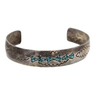 Vintage Chip Inlay Turquoise Cuff Bracelet