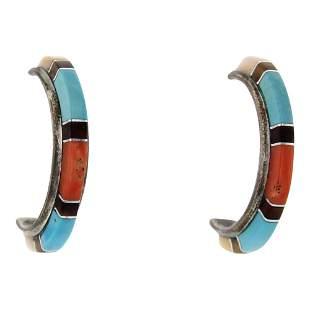 Zuni Panteah Turquoise Coral & Jet Black Inlay Hoop