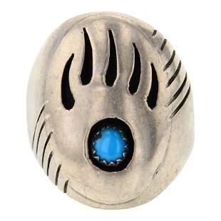 Vintage Kingman Turquoise Men's Bear Paw Ring