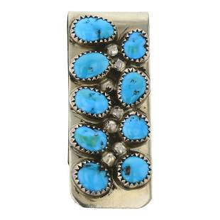 Kingman Turquoise Sterling Silver on Nickel Money Clip