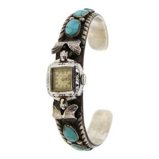 Vintage Nevada Turquoise Watch Bracelet