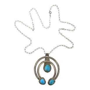 Vintage Kingman Turquoise Naja Necklace