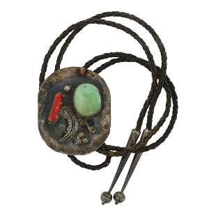 Old Pawn Turquoise & Coral Bolo Tie