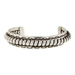 Navajo Plain Silver Cuff Bracelet