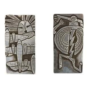Todacheene Hopi Overlay Clip Earrings