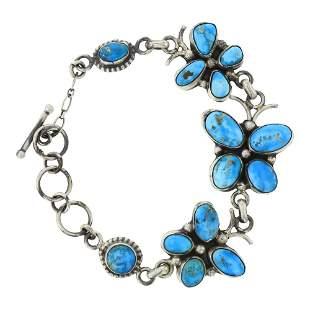 Lydia Begay Blue Bird Turquoise Butterfly Link Bracelet