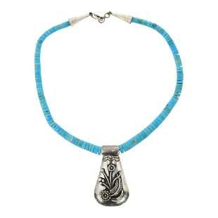 Santo Domingo Pueblo Turquoise & Silver Necklace