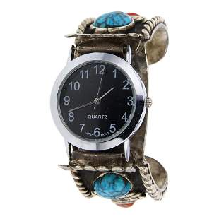 Sleeping Beauty Turquoise Nugget & Coral Watch bracelet
