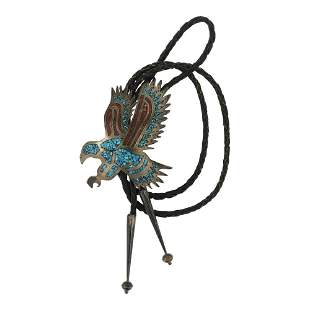 Vintage Turquoise & Coral Chip Inlay Eagle Bolo Tie