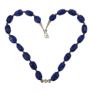 Denim Lapis & Sterling Silver Bench Beads Navajo Strung