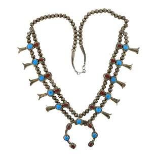 Vintage Kingman Turquoise & Freeform Coral Squash