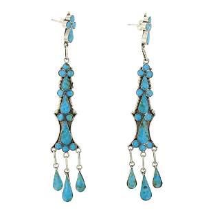 Turquoise Zuni Inlay Chandelier Earrings