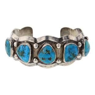 Vintage Pawn Heavy Gauge Blue Ridge Turquoise Cuff