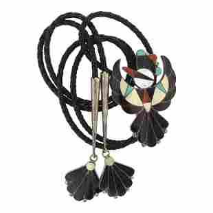 Vintage Zuni Inlay Mixed Stone Thunderbird Bolo Tie