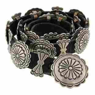 Navajo Tradition Stamp work Concho Belt