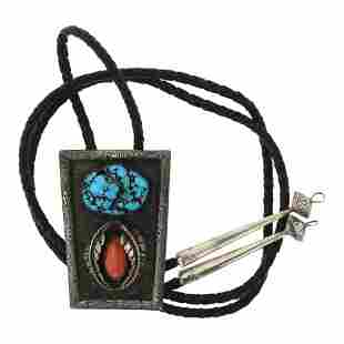 Old Pawn Kingman Nugget Turquoise & Coral Bolo Tie